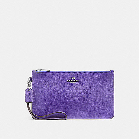 COACH f12081 CROSBY CLUTCH IN CROSSGRAIN LEATHER SILVER/PURPLE