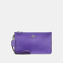 COACH CROSBY CLUTCH IN CROSSGRAIN LEATHER - SILVER/PURPLE - F12081