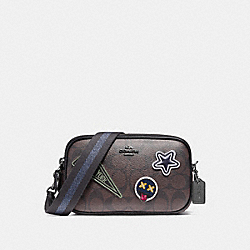 CROSSBODY POUCH IN SIGNATURE COATED CANVAS WITH VARSITY PATCHES - f12084 - BLACK ANTIQUE NICKEL/BROWN