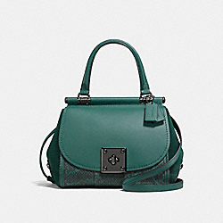 COACH F12086 - DRIFTER TOP HANDLE WITH SNAKESKIN DARK GUNMETAL/DARK TURQUOISE