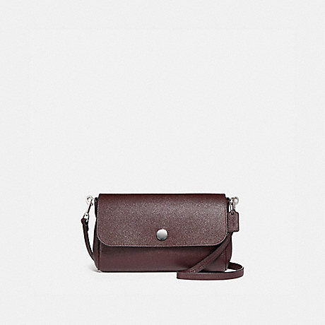 COACH f12106 REVERSIBLE RUBY CROSSBODY IN CROSSGRAIN LEATHER SILVER/OXBLOOD