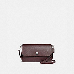 REVERSIBLE RUBY CROSSBODY IN CROSSGRAIN LEATHER - f12106 - SILVER/OXBLOOD