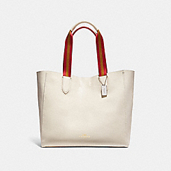 COACH F12107 Large Derby Tote In Multi Edgepaint Pebble Leather LIGHT GOLD/CHALK MULTI