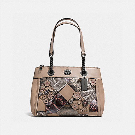 COACH f12112 TURNLOCK EDIE CARRYALL WITH PATCHWORK SNAKESKIN DARK GUNMETAL/MULTICOLOR