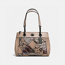 COACH F12112 - TURNLOCK EDIE CARRYALL WITH PATCHWORK SNAKESKIN DARK GUNMETAL/MULTICOLOR