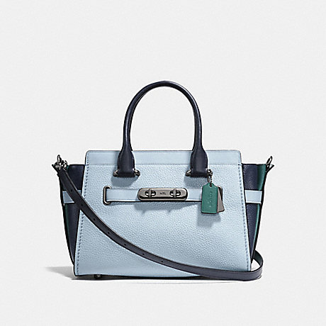 COACH f12120 COACH SWAGGER 27 IN COLORBLOCK DARK GUNMETAL/PALE BLUE