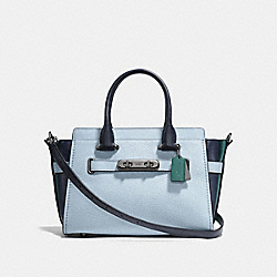 COACH SWAGGER 27 IN COLORBLOCK - f12120 - DARK GUNMETAL/PALE BLUE