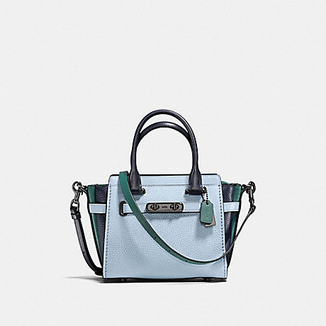 fd02b2d13718 COACH f12121 COACH SWAGGER 21 IN COLORBLOCK PALE BLUE NAVY DARK  TURQUOISE DARK
