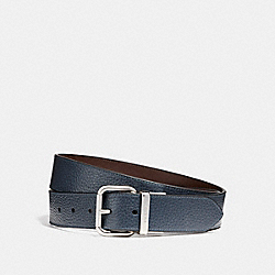 WIDE JEANS BUCKLE CUT-TO-SIZE REVERSIBLE PEBBLE LEATHER BELT - f12153 - DARK DENIM/MAHOGANY