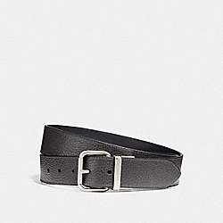 WIDE JEANS BUCKLE CUT-TO-SIZE REVERSIBLE PEBBLE LEATHER BELT - f12153 - MIDNIGHT/BLACK