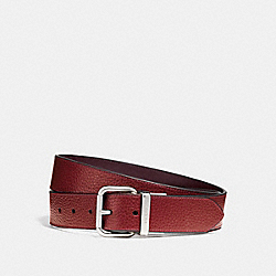 WIDE JEANS BUCKLE CUT-TO-SIZE REVERSIBLE BELT - f12153 - TERRACOTTA/OXBLOOD