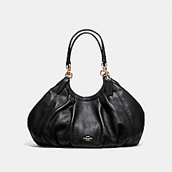 LILY SHOULDER BAG IN REFINED NATURAL PEBBLE LEATHER - f12155 - LIGHT GOLD/BLACK