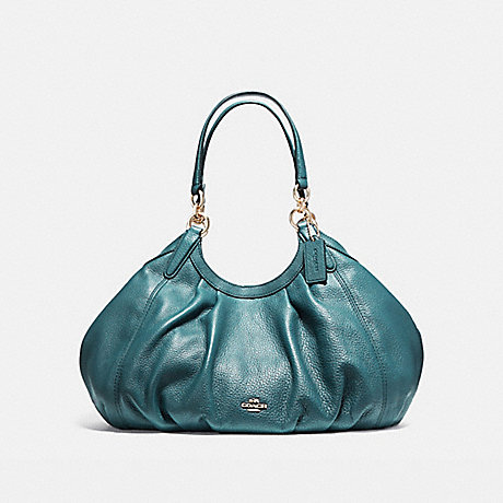 COACH f12155 LILY SHOULDER BAG IN REFINED NATURAL PEBBLE LEATHER LIGHT GOLD/DARK TEAL