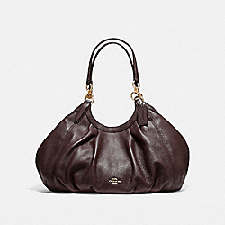 LILY SHOULDER BAG IN REFINED NATURAL PEBBLE LEATHER - f12155 - LIGHT GOLD/OXBLOOD 1