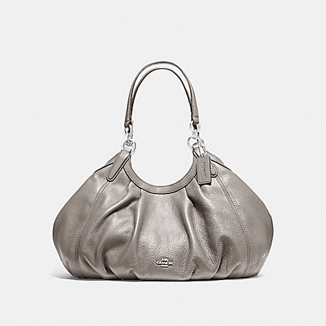 COACH f12155 LILY SHOULDER BAG IN REFINED NATURAL PEBBLE LEATHER SILVER/HEATHER GREY