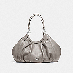 LILY SHOULDER BAG IN REFINED NATURAL PEBBLE LEATHER - f12155 - SILVER/HEATHER GREY