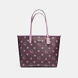 REVERSIBLE CITY TOTE IN WILDFLOWER PRINT COATED CANVAS - f12176 - LIGHT GOLD/OXBLOOD MULTI