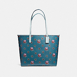 REVERSIBLE CITY TOTE IN WILDFLOWER PRINT COATED CANVAS - f12176 - SILVER/DARK TEAL MULTI