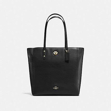 COACH F12184 TOWN TOTE IN PEBBLE LEATHER IMITATION-GOLD/BLACK