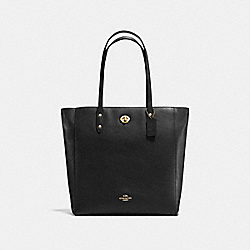COACH F12184 Town Tote In Pebble Leather IMITATION GOLD/BLACK