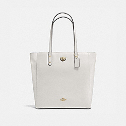 TOWN TOTE IN PEBBLE LEATHER - f12184 - IMITATION GOLD/CHALK