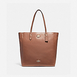 TOWN TOTE - f12184 - IMITATION GOLD/SADDLE 2