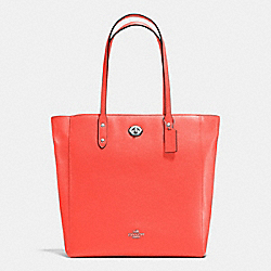 COACH F12184 - TOWN TOTE IN PEBBLE LEATHER SILVER/BRIGHT ORANGE
