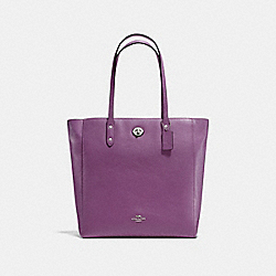 TOWN TOTE IN PEBBLE LEATHER - f12184 - SILVER/MAUVE