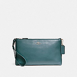 COACH F12185 Large Wristlet 25 In Natural Refined Pebble Leather LIGHT GOLD/DARK TEAL