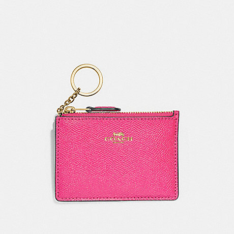 COACH F12186 MINI SKINNY ID CASE PINK-RUBY/GOLD