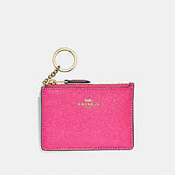 COACH F12186 Mini Skinny Id Case PINK RUBY/GOLD