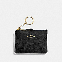 COACH F12186 Mini Skinny Id Case In Crossgrain Leather IMITATION GOLD/BLACK