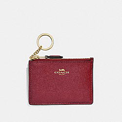 COACH F12186 Mini Skinny Id Case CHERRY /LIGHT GOLD
