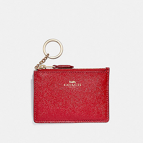COACH F12186 MINI SKINNY ID CASE IN CROSSGRAIN LEATHER LIGHT-GOLD/TRUE-RED