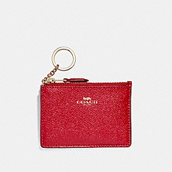 COACH F12186 Mini Skinny Id Case In Crossgrain Leather LIGHT GOLD/TRUE RED