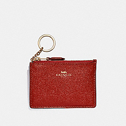 COACH F12186 Mini Skinny Id Case LIGHT GOLD/DARK RED