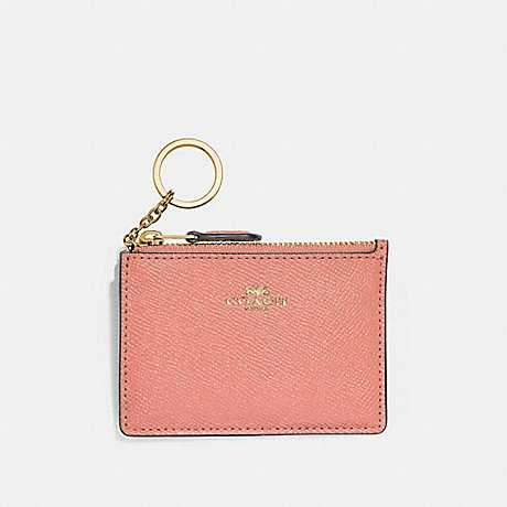 COACH F12186 MINI SKINNY ID CASE LIGHT-CORAL/GOLD