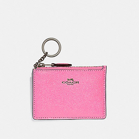 COACH F12186 MINI SKINNY ID CASE BLACK-ANTIQUE-NICKEL/NEON-PINK