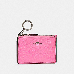 COACH F12186 Mini Skinny Id Case BLACK ANTIQUE NICKEL/NEON PINK