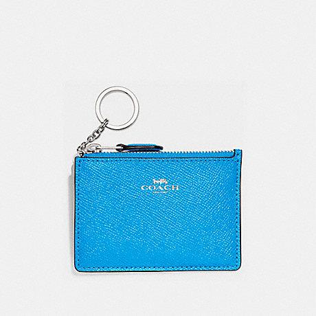 COACH F12186 MINI SKINNY ID CASE BRIGHT-BLUE/SILVER