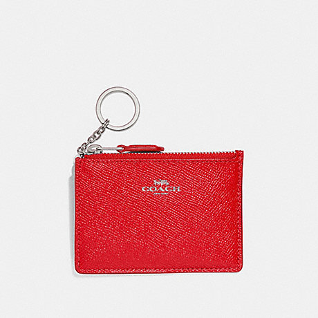 COACH F12186 MINI SKINNY ID CASE BRIGHT-RED/SILVER