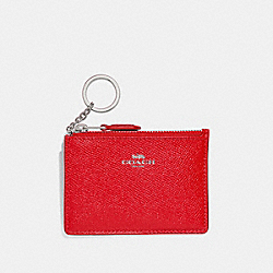 COACH F12186 Mini Skinny Id Case BRIGHT RED/SILVER
