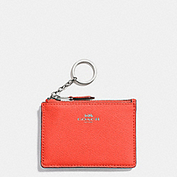 COACH F12186 - MINI SKINNY ID CASE IN CROSSGRAIN LEATHER SILVER/BRIGHT ORANGE