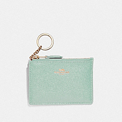 COACH F12186 Mini Skinny Id Case SILVER/SEA GREEN