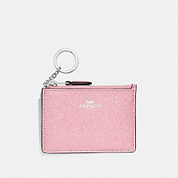 COACH F12186 Mini Skinny Id Case SILVER/BLUSH 2