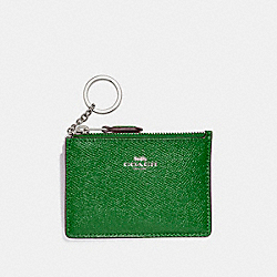COACH F12186 Mini Skinny Id Case SILVER/KELLY GREEN