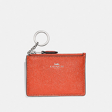 COACH F12186 MINI SKINNY ID CASE ORANGE-RED/SILVER