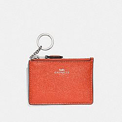 COACH F12186 Mini Skinny Id Case ORANGE RED/SILVER