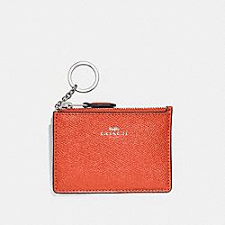 COACH F12186 Mini Skinny Id Case ORANGE RED/SILVER