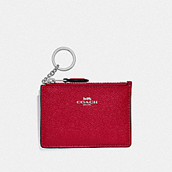 COACH F12186 Mini Skinny Id Case BRIGHT CARDINAL/SILVER